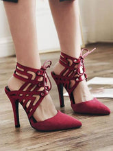 Load image into Gallery viewer, Sexy Hollow Pure Color Pointed Slim High Heel  Sandals