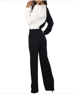 Fashion sexy v-neck wide-legged jumpsuits