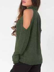Fashion Off Shoulder Plain Loose Knit Sweater