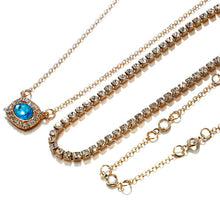 Load image into Gallery viewer, Stylish Geometric Multi-Layer Alloy Diamond Sapphire Tassel Necklace