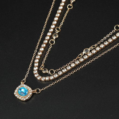 Stylish Geometric Multi-Layer Alloy Diamond Sapphire Tassel Necklace