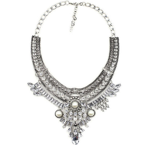 Silver Cuspid Rhinestone Pendant Tribal Necklace
