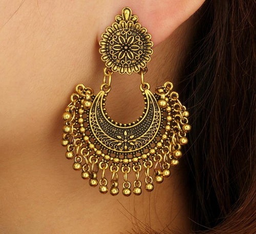 Bohemian Metal Vintage Wind Carved Long Bell Tassel Earrings