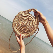 Load image into Gallery viewer, Vacation Fashion Casual Plain Knitting Round Shape One Shoulder Hand Bag
