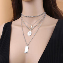 Load image into Gallery viewer, Vintage Alloy Cross Multilayer Pendant Necklace