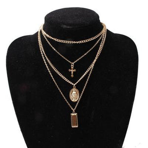 Vintage Alloy Cross Multilayer Pendant Necklace