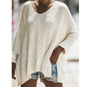 Fashionable shag line long sweater knit