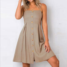 Load image into Gallery viewer, Casual Plain Slim Button Embellished Vacation Dress