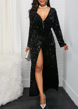 Load image into Gallery viewer, Sexy Deep V  Long Sleeve Slit Sequins Dresses