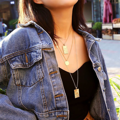 Vintage geometric hair multi-layer star necklace