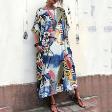 Load image into Gallery viewer, New National Style Loose Printed Cotton And Linen Long Dress