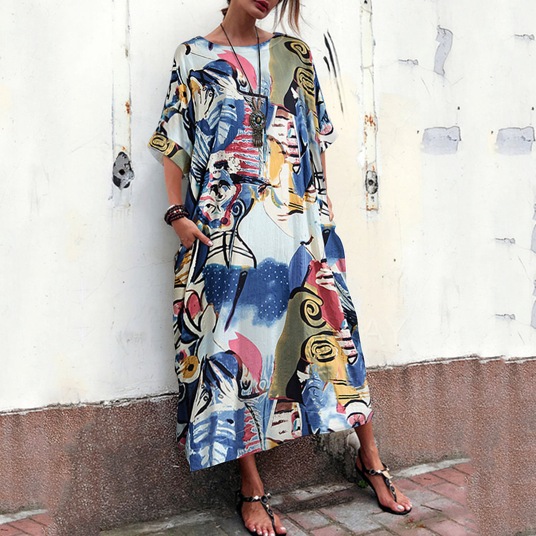 New National Style Loose Printed Cotton And Linen Long Dress