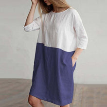 Load image into Gallery viewer, Round Neck  Patchwork  Color Block  Cotton Shift Dress