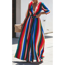 Load image into Gallery viewer, Sexy Striped Color V-Neck Long-Sleeved Back Hollow Dress