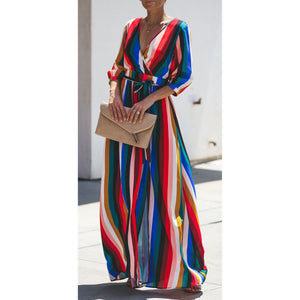 Sexy Striped Color V-Neck Long-Sleeved Back Hollow Dress