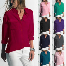 Load image into Gallery viewer, Casual Lapel long sleeved pocket  shirt blouse