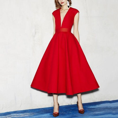 Sexy Elegant Deep V Collar Plain Red Skater Dress