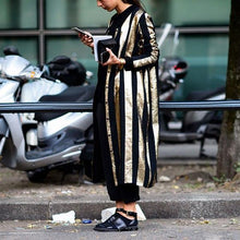 Load image into Gallery viewer, Fall And Winter   Fashion Striped Long Coat