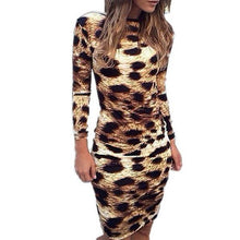 Load image into Gallery viewer, Round Neck  Backless  Leopard Printed Bodycon Dresses