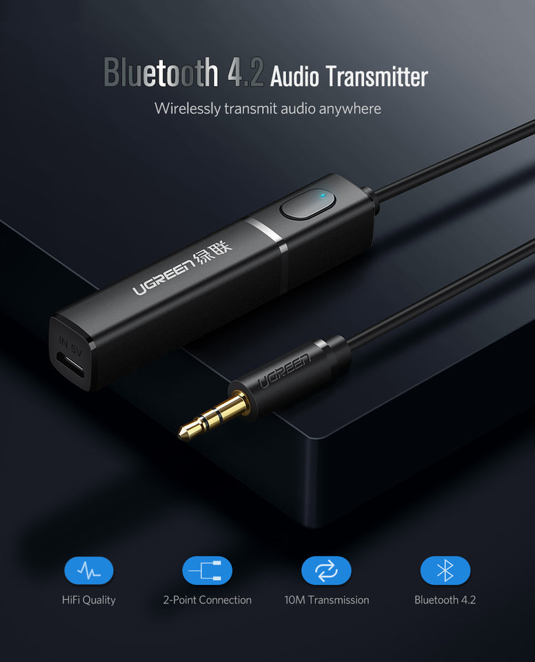 Ugreen Bluetooth Transmitter 4.2 Aux - QWERTY LLC