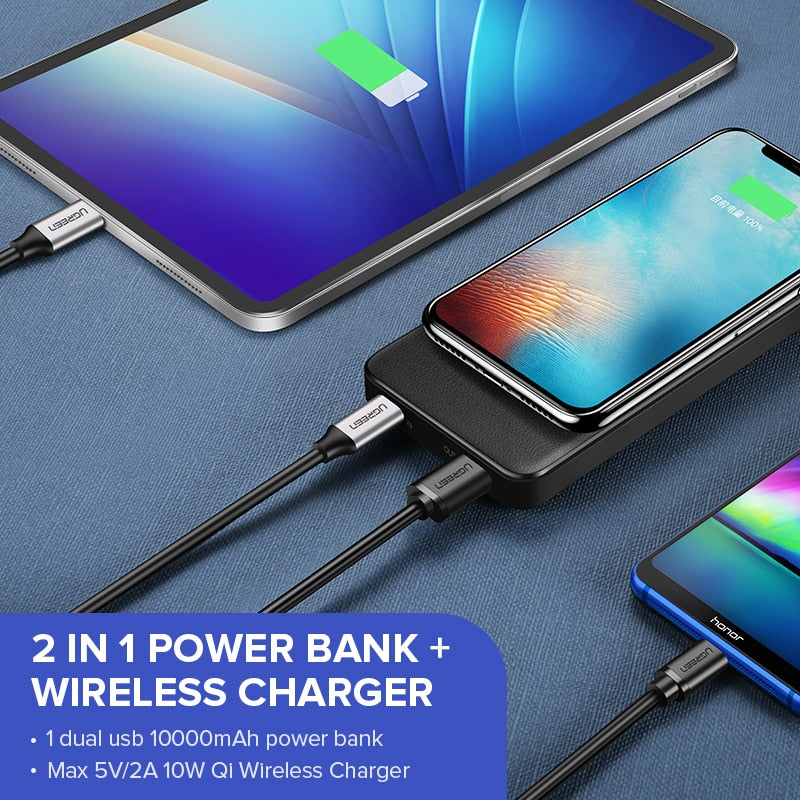 10000mAh Qi Wireless Charger Power Bank iPhone X 8 Macbook Samsung S9 - QWERTY LLC