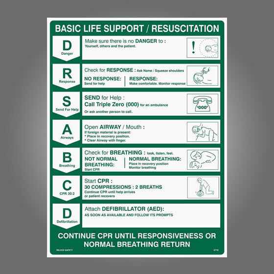 CPR WALL CHART POLY 60cm X 45cm