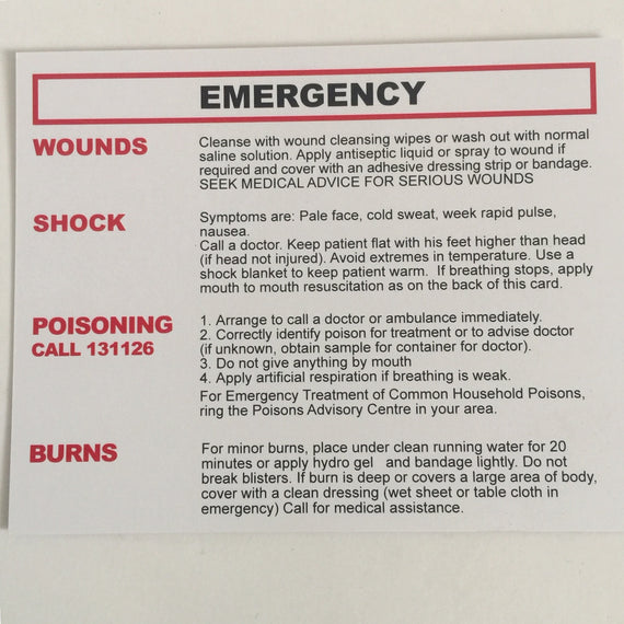 FIRST AID SAVE-A-LIFE CARD INSERT