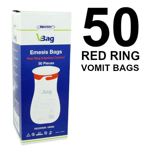 VOMIT BAGS EMESIS BAGS 50 PIECES RED RING