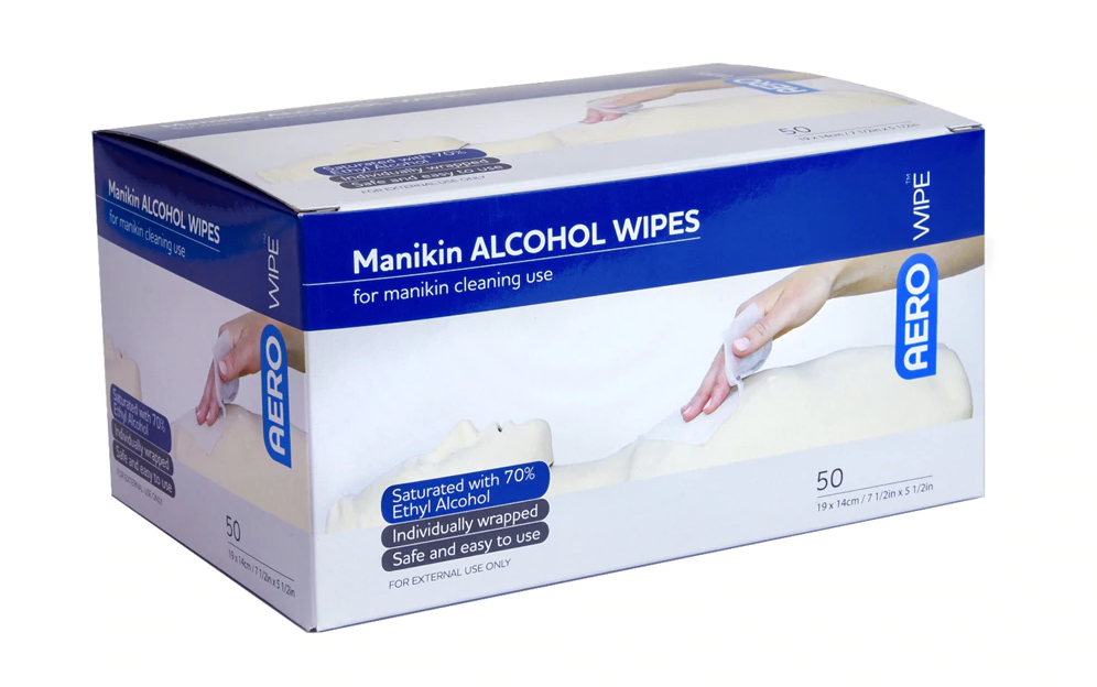 Manikin Alcohol Cleaning Sanitiser Wipe, 70 Percent Isopropyl Alcohol, 19 x 14cm, Prefolded, 50 Single Pouch per Box