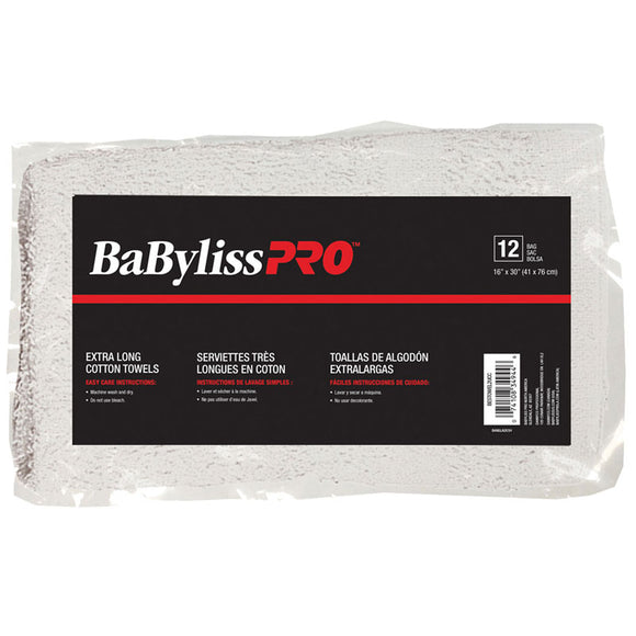BabylissPro Cotton Towels Grey Stripe (12 Pack)