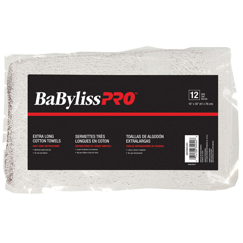 BabylissPro Cotton Towels Grey Stripe (12 Pack) - Empire Barber Supply