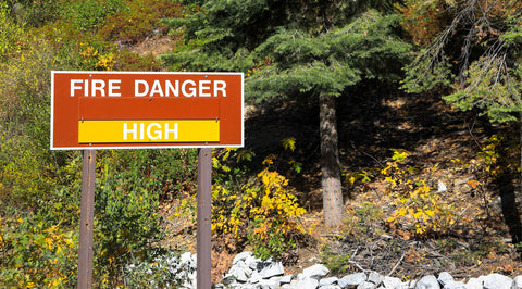 An area that is at high risk for fires indicated with signage.