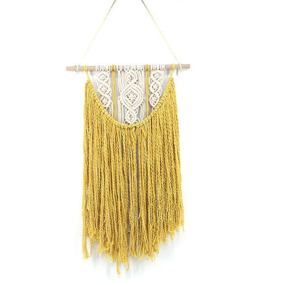 Handmade Bohemian Yellow Cotton Macrame Wall Hangings