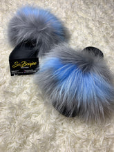 Load image into Gallery viewer, Blue/Gray Fur Slides