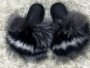 Black/White Fur Slides