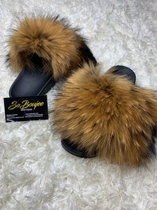 Tan Fur Slides