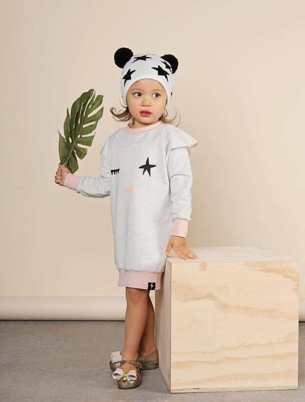 Kapow Kids Twinkle Eye French Terry Sweater Dress in multi colour print