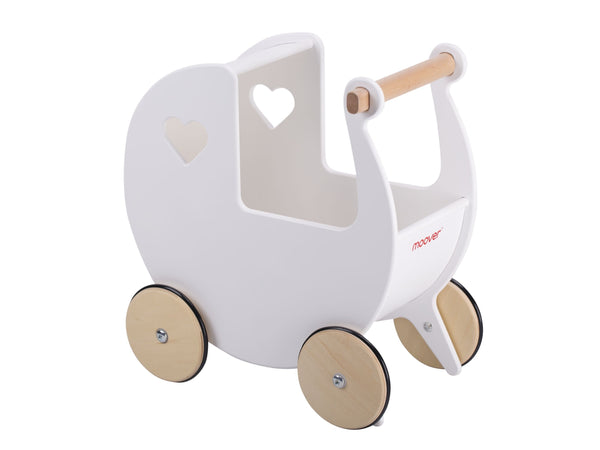 Moover Dolls Pram White with Natural Wheels