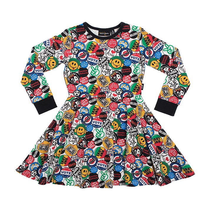 retro-badges-waisted-dress-in-multi colour print