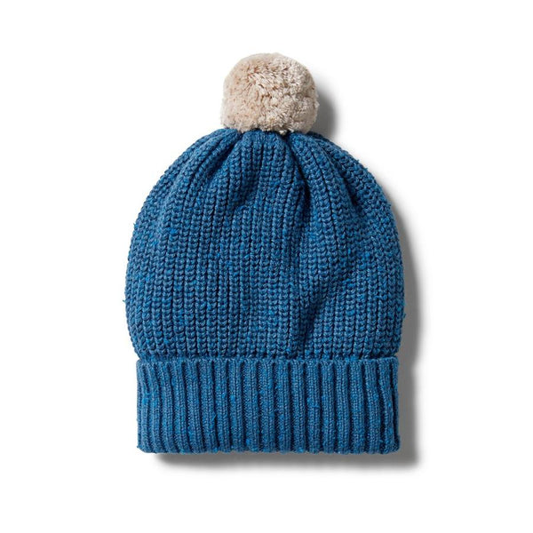 Wilson & Frenchy Knitted Hat - Denim Fleck in blue
