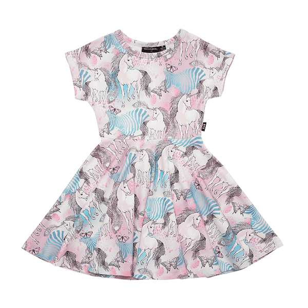Rock your baby magic unicorn waisted dress in multi colour
