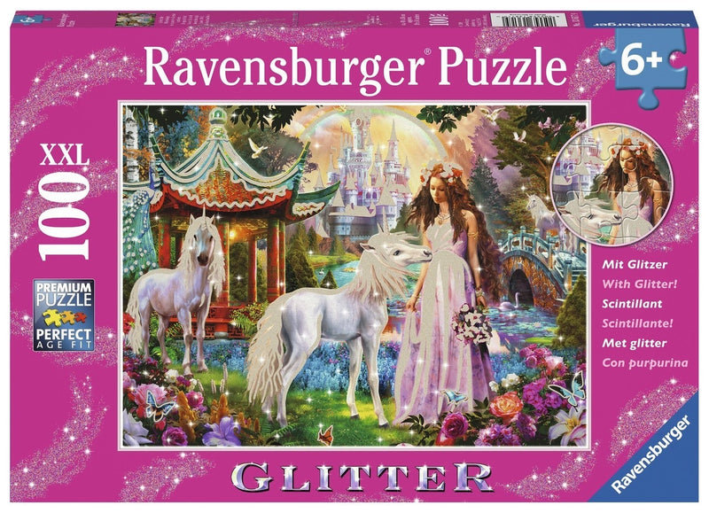 Ravensburger Puzzles - Princess Glitter with Unicorn Puzzle 100pc |