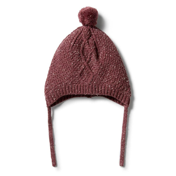 Wilson & Frenchy Knitted Cable Bonnet - Wild Ginger fleck in red