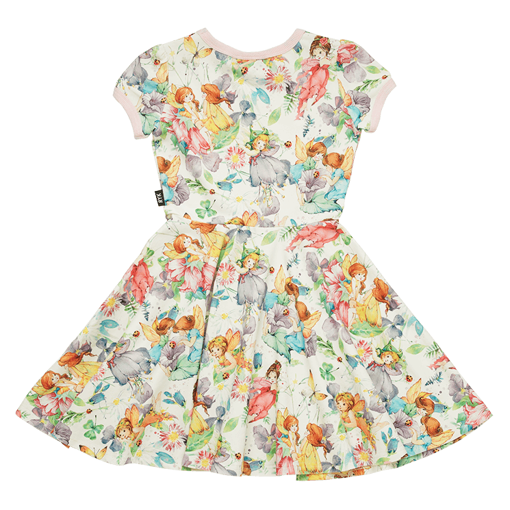 Rock your Baby magical Short Sleeve Waisted Dress in multi colour print