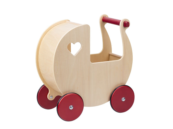Moover Dolls Pram  Natural with  Red Wheels