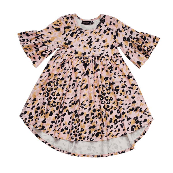 Rock your baby Pink leopard boho dress in Pink