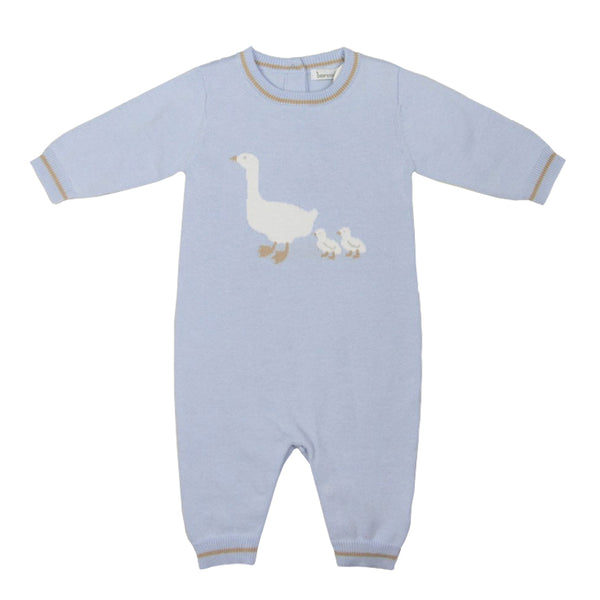 Beanstork Mother Goose Knit Romper in blue