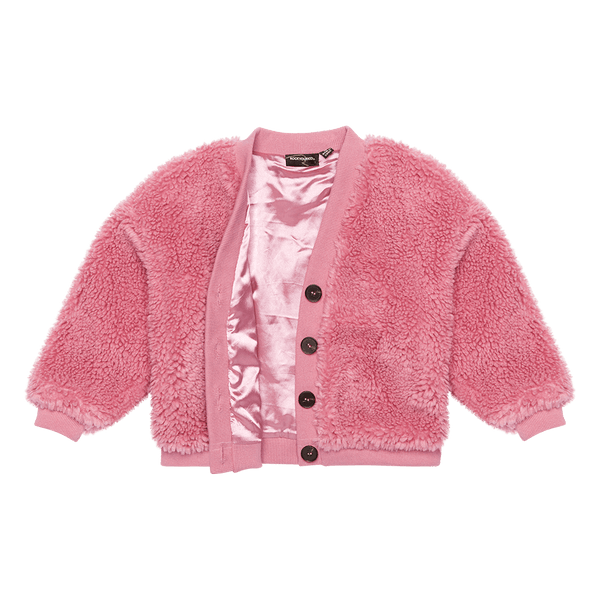 Rock Your Baby Sherpa Cardigan in Pink