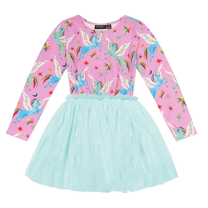 Rock Your Baby Rainbow Pegasus Circus Dress in Multi Colour