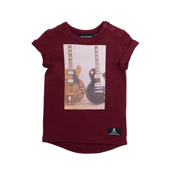 wonderwall-short-sleeve-baby-tee-shirt---burgundy-in-multi colour print
